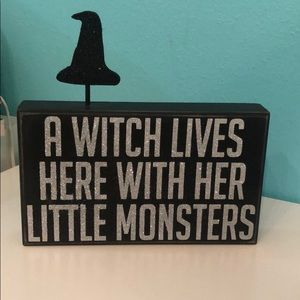 Halloween decor witch sign